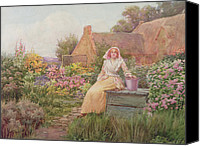 Woman At The Well Canvas Prints - At the Well Canvas Print by William Ashburner