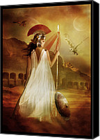 Woman Digital Art Canvas Prints - Athena Canvas Print by Karen Koski