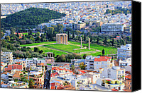 Ruin Digital Art Canvas Prints - Athens - Temple of Olympian Zeus Canvas Print by Hristo Hristov