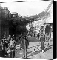 Crowd Scene Canvas Prints - Athens Greece  c 1903 - Aeolos Street and the Stoa of Hadrian Canvas Print by International  Images