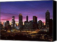 Stucco Canvas Prints - Atlanta Skyline Canvas Print by Byron Fli Walker