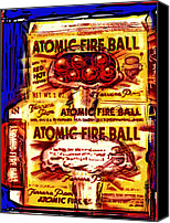 Mushroom Mixed Media Canvas Prints - Atomic Fire Ball Canvas Print by Russell Pierce
