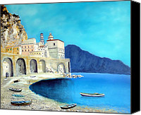 Italian Mediterranean Art Canvas Prints - Atrani Italy Canvas Print by Larry Cirigliano