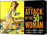 1950s Poster Art Canvas Prints - Attack Of The 50 Foot Woman, Allison Canvas Print by Everett