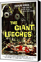 1950s Poster Art Canvas Prints - Attack Of The Giant Leeches Aka The Canvas Print by Everett