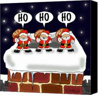 Santa Claus Drawings Canvas Prints - Attack of the Mini-Santas Canvas Print by Kev Moore
