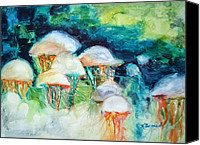 Jellyfish Painting Canvas Prints - Attack of the Portuguese Jellyfish Canvas Print by Kathy Braud