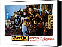 1950s Poster Art Canvas Prints - Attila, Aka Attila, Il Flagello Di Dio Canvas Print by Everett