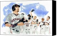 Mlb Painting Canvas Prints - Aubrey Huff Study 1 Canvas Print by George  Brooks