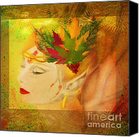 Rosy Hall Canvas Prints - Audrey Hepburn Autumn Fae Canvas Print by Rosy Hall