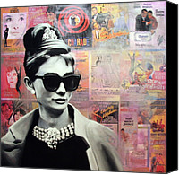 Holiday Canvas Prints - Audrey Hepburn Canvas Print by Ryan Jones