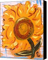 Unique Art Drawings Canvas Prints - August 7 Late Day Sunflower Canvas Print by Mary Carol Williams