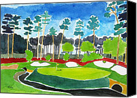 Augusta Golf Painting Canvas Prints - Augusta 13th Georgia - Amen Corner Canvas Print by Lesley Giles