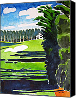 Augusta Golf Painting Canvas Prints - Augusta 18th Georgia Canvas Print by Lesley Giles