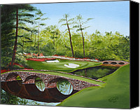 Florida Bridge Painting Canvas Prints - Augusta Golf Course Canvas Print by Kimber  Butler