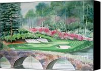 Augusta Golf Painting Canvas Prints - Augusta National 12th Hole Canvas Print by Deborah Ronglien