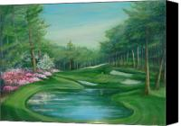 Augusta Golf Painting Canvas Prints - Augusta National Perfect Golf Day Canvas Print by Phyllis OShields