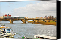 Bank Canvas Prints - Augustus Bridge Dresden Germany Canvas Print by Christine Till