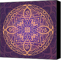 Purple Floral Canvas Prints - Aum Awakening Mandala Canvas Print by Cristina McAllister