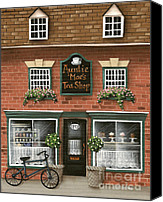 Shop Painting Canvas Prints - Auntie Maes Tea Shop Canvas Print by Catherine Holman