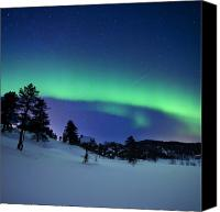 Aurora Borealis Canvas Prints - Aurora Borealis And A Shooting Star Canvas Print by Arild Heitmann