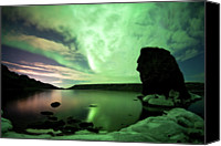 Aurora Borealis Canvas Prints - Aurora Borealis Over Lake Kleifarvatn Canvas Print by Skarphedinn Thrainsson