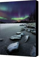 Rock Canvas Prints - Aurora Borealis Over Sandvannet Lake Canvas Print by Arild Heitmann