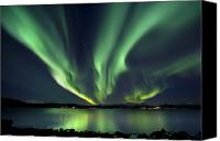 Lake Canvas Prints - Aurora Borealis Over Tjeldsundet Canvas Print by Arild Heitmann