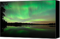 Green Photo Canvas Prints - Aurora over Tofte Lake Canvas Print by Larry Ricker