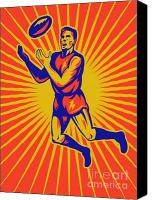 Football Digital Art Canvas Prints - Aussie Rules Player Jumping Ball Canvas Print by Aloysius Patrimonio