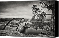 Tx Canvas Prints - Austin 360 Bridge in Early Dawn Canvas Print by Lisa  Spencer