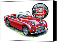 Austin Canvas Prints - Austin Healey Bugeye Sprite Red Canvas Print by David Kyte
