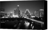 Buildings Canvas Prints - Austin Skyline Mono Canvas Print by John Gusky
