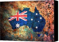 Flag Digital Art Canvas Prints - Australia Flag Map Canvas Print by Michael Tompsett