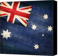 Patriotism Photo Canvas Prints - Australia  flag Canvas Print by Setsiri Silapasuwanchai