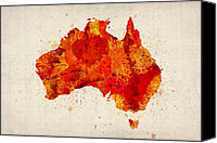 Wales Digital Art Canvas Prints - Australia Watercolor Map Art Print Canvas Print by Michael Tompsett