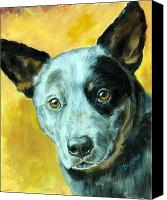 Blue Heeler Canvas Prints - Australian Cattle Dog Blue Heeler on Gold Canvas Print by Dottie Dracos