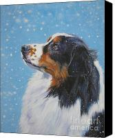 Xmas Canvas Prints - Australian Shepherd in snow Canvas Print by L A Shepard