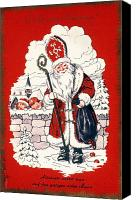 Santa Claus Canvas Prints - Austrian Christmas Card Canvas Print by Granger