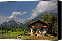 Billows Canvas Prints - Austrian Cottage Canvas Print by Debra and Dave Vanderlaan