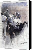Watercolour Canvas Prints - Auto Union B type 1935 Italian GP Monza B Rosermeyer Canvas Print by Yuriy  Shevchuk