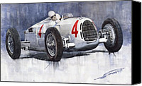 C Canvas Prints - Auto Union C Type 1937 Monaco GP Hans Stuck Canvas Print by Yuriy  Shevchuk