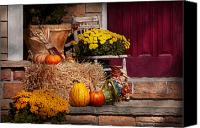 Halloween Scene Canvas Prints - Autumn - Gourd - Autumn Preparations Canvas Print by Mike Savad