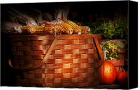 Halloween Scene Canvas Prints - Autumn - Gourd - Fresh corn Canvas Print by Mike Savad
