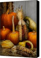 Halloween Scene Canvas Prints - Autumn - Gourd - Pumpkins and Maize  Canvas Print by Mike Savad