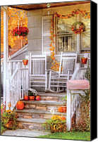 Rocking Chairs Photo Canvas Prints - Autumn - House - My Aunts porch Canvas Print by Mike Savad