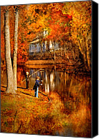 Fall Scenes Canvas Prints - Autumn - People - Gone Fishing Canvas Print by Mike Savad
