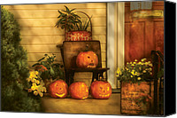 Fall Scenes Canvas Prints - Autumn - Pumpkin - The Jolly Bunch Canvas Print by Mike Savad