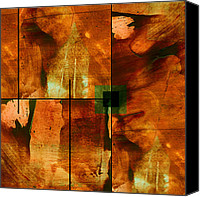 Abstract Expressionist Mixed Media Canvas Prints - Autumn Abstracton Canvas Print by Ann Powell