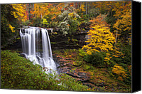 Waterfall Canvas Prints - Autumn at Dry Falls - Highlands NC Waterfalls Canvas Print by Dave Allen
